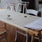 Werken op een groot borduurframe (2)