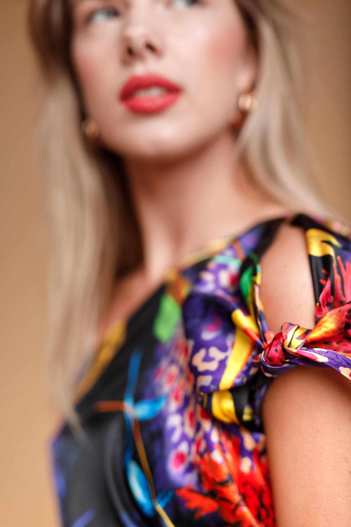 Sleeve detail bias-draped dress by Saskia ter Welle